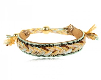 Massai gold braided rope and chain bracelet