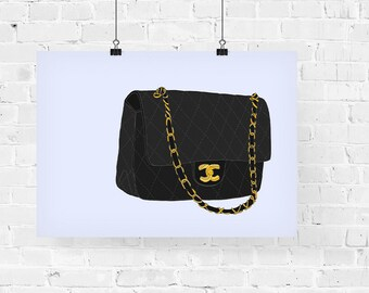 Chanel 2.55 Flap Bag Fashion Illustration Art Print