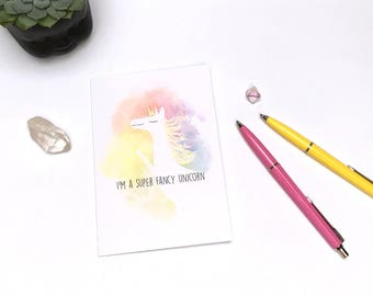 Super Fancy Unicorn Greeting Card  - Rainbow Unicorn Card - Animal Card - Any Occasion Card - Friend Card - Just Because Card