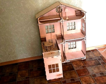 Meter house for dolls . Dollhouse Maria + furniture   . Vector model for laser cut. Instant download.wooden houses plywood
