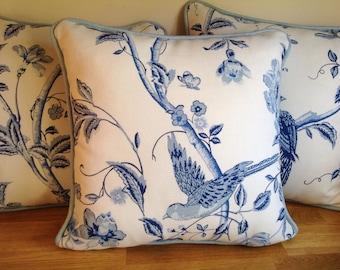 Handmade  Laura Ashley Summer Palace Royal Blue Cushion with Bacall Seaspray reverse and Piping