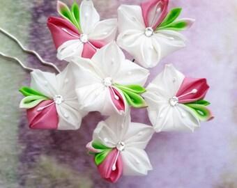 Kanzashi Fuchsia Snow White Silk Cherry Blossom Festival Flower Prong Handmade By Mizusgarden