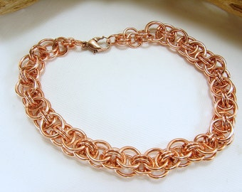 Copper Helm Chain Maille Woven  Bracelet, Copper Bracelet, Copper Chain Maille Bracelet