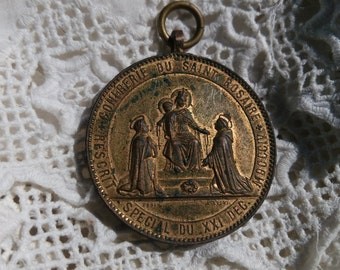RARE Victorian 1869 French Medal Penin Lyon Confraternity Saint Rosary Our Lady St Catherine St Dominic Verdigris Gilded #sophieladydeparis