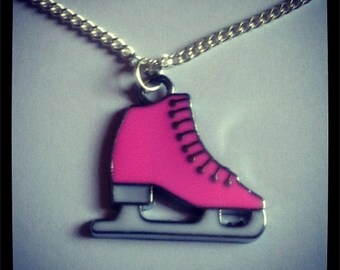 Pink Ice Skate Charm Necklace