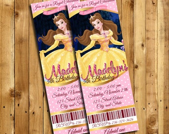 Beauty and the Beast Invitation, Beauty and the Beast Birthday, Princess Belle Invites, Beauty and the Beast Thank You Card | MSBE_5