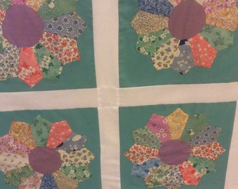 Shabby chic Dresden plate quilt top made with vintage blocks
