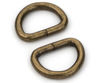 """D-Ring 1/2"""" Antique Brass Finish Pack of 10"""