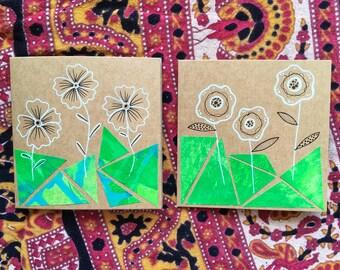 Green Collage Flowers - Set of 2 Cards - Original Artwork