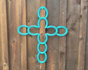 Horseshoe Cross - Cross - Turquoise Cross - Horseshoe Decor - Horseshoe Art - Rustic Home Decor - Cross Decor -Country Decor-Cross Wall Art