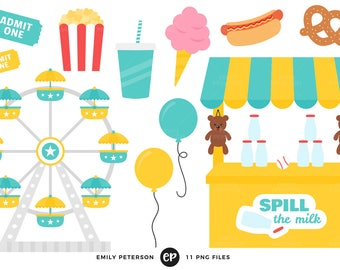 50% OFF SALE! Carnival Clip Art, Ferris Wheel Clipart, Cotton Candy Clip Art - Commercial Use, Instant Download - V3