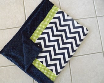 Baby bedding blanket Lime and navy chevron minky dot
