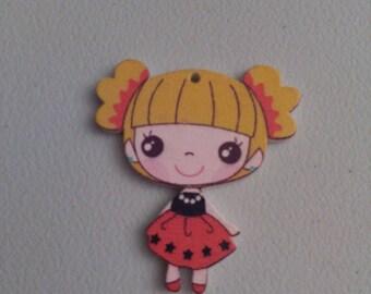 Button figurine new blonde girl