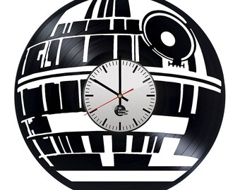 Death Star Silhouette Vinyl Record Wall Clock