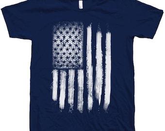 AMERICAN Flag T Shirt Custom Hand Screen Print Crew Neck Available: S , M , L , XL, 2XL