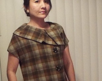 Vintage Wool Plaid Tunic Dress - size small