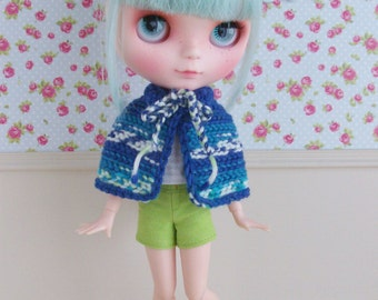 Merino wool cape, blouse and shorts for Blythe / Licca / Pure Neemo S