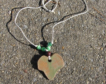 Ivy Leaf Necklace With Green Beads