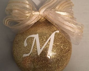 Personalized Initial/ Letter Glitter Christmas Ornament