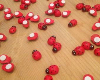 50 Piece Wooden Ladybug / Ladybug Stickers - Craft Scrapbooking
