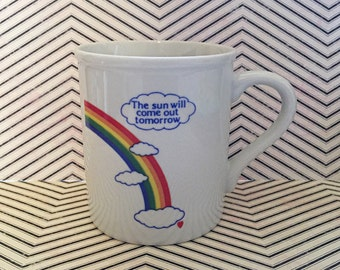The Sun Will Come Out Tomorrow Vintage Rainbow Mug