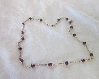 Vintage Sterling Silver & Purple Beaded and Chain Necklace