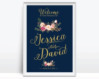 Printable wedding sign, Wedding Welcome Sign, Welcome wedding sign, Gold wedding sign, Navy blue Wedding Sign - US_WS0111b