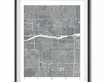TEMPE Map Art Print / Arizona Poster / Tempe Wall Art Decor / Choose Size and Color