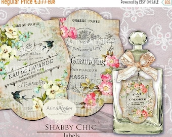 SALE - 40% OFF LABELS Shabby Chic - Parfume Labels - Apothecary Labels - Vintage Tag Parfume - Collage Digital Labels - Collage french Label