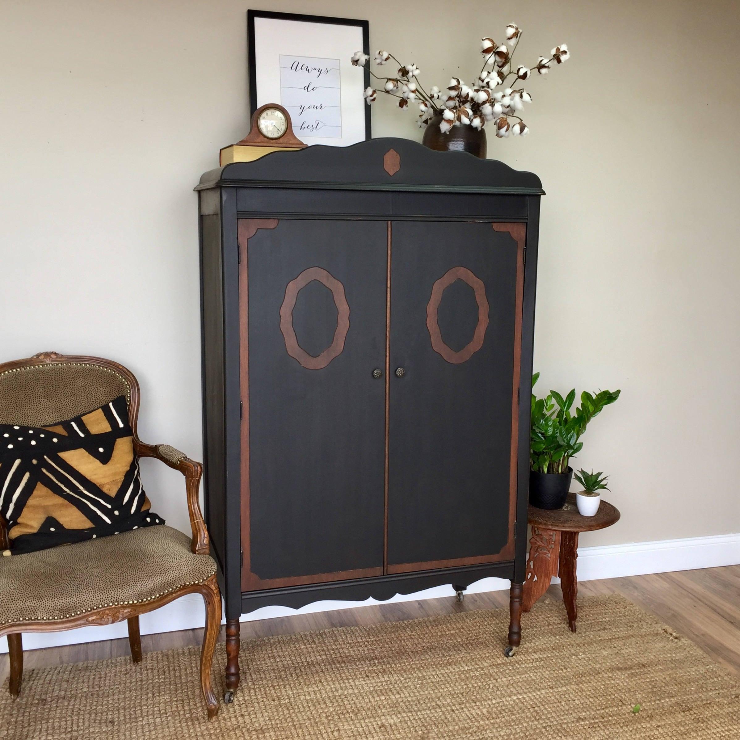 Antique Chifferobe   Black Armoire   Vintage Furniture   Armoire Wardrobe    Distressed Furniture   Vintage Armoire   Shabby Chic Armoire