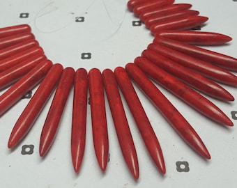 Red Howlite Gradueted Stick Beads (23)