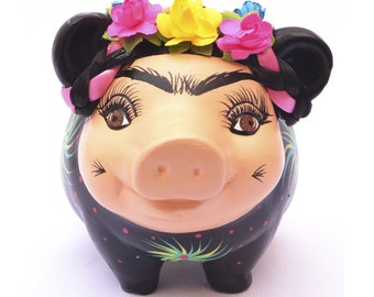 Frida Kahlo Piggy Bank, Mexican Folk Artist,adult coin Bank, personalized Piggy Bank, Collectionist, Ceramic, perfect gift, black, cute
