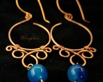 Gorgeous Wire-Wrapped Copper & Blue Agate Earrings