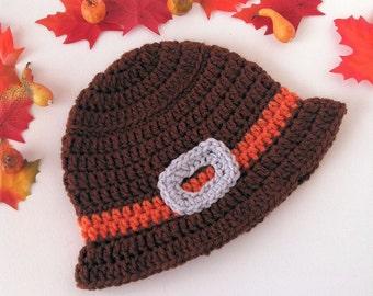 Crochet Thanksgiving Hat - Crochet Pilgrim Hat - Thanksgiving Beanie - Fall Hat - Thanksgiving Hat - Baby Boys Hat - Photo Prop