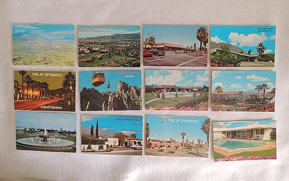 12 Vintage Mid Century 1960s Postcard Lot.. Palm Springs.. Celebrity Ephemera