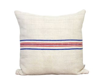 Antique Grain Sack Pillow Cover - Stripe Pillow - Decorative Pillow - Red and Blue Stripe - Cottage - Farmhouse - Coastal - Reversible