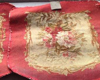 Antique Fabric French Aubusson Vintage Fabric Panel/ 18C Red Needlepoint Tapestry, Antique Textile, Upholstery Furnishing Projects