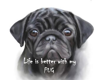Pug Print,wall art,pug lover gift,personalised dog gift,Pet Memorial Portrait, Dog Portrait, Cat Portrait, Gift for him her