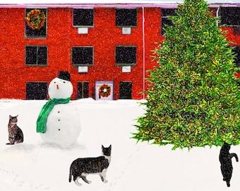 Christmas Cat Cards, Handmade Cards, Frosty the Snowman, Xmas Cards, Cat Lovers, Cat Artwork, Deborah Julian