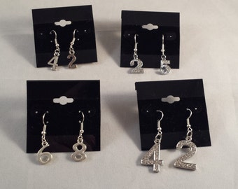Sports Mom Bling Player's Number Earrings