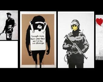 BANKSY Essentials Set of 5 Canvas/Giclee Prints Street Art Graffiti  (FIVECS)
