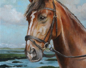 Horse Original Painting, 16 x 20 Oil on Canvas panel