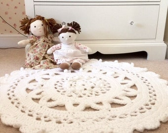 Nursery Rug, Crochet Floor Rug, Accent Rug, Nursery Decor, White Pink and Grey Rug, Baby Shower Gift