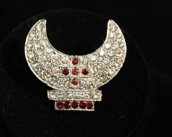 ORO - Beautiful vintage Shriners Fez Holder Pin - Signed