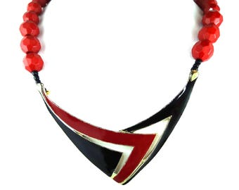80s Red Enamel Statement Necklace