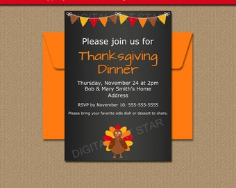 PRINTABLE Thanksgiving Invitation Download EDITABLE - Thanksgiving party invitation templates