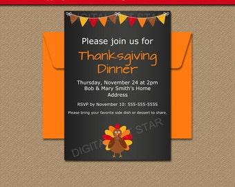 PRINTABLE Thanksgiving Invitation Download EDITABLE - Thanksgiving party invitation templates