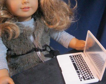 18 inch Doll Laptop Computer.  School accessories, Doll Computer,  18 inch doll accessories / American Girl Doll Accessories school supplies