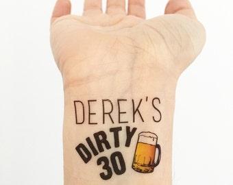 Dirty Thirty Birthday Party Temporary Tattoos- Beer Mug