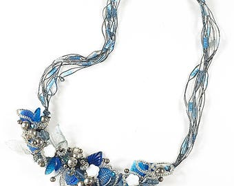 20 inch 3D blue necklace, artist wire and trellis ribbon, swarovski crystal, silver beads, acrylic leaves